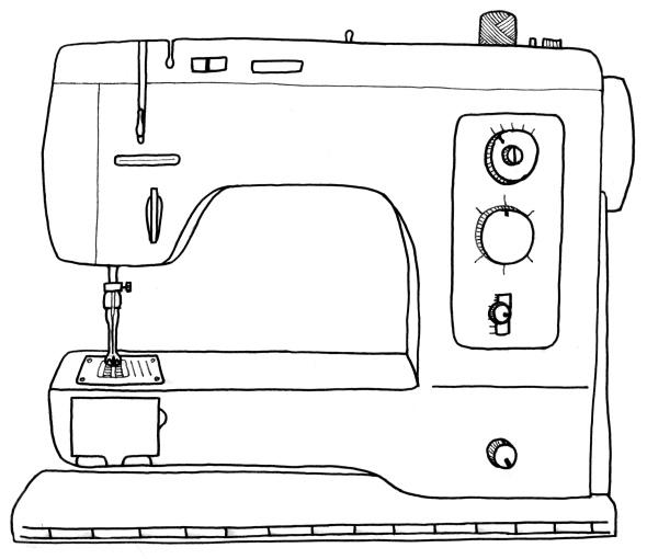 Ilustração de uma máquina de costura doméstica genérica (Autor desconhecido, via Wendy Ward)