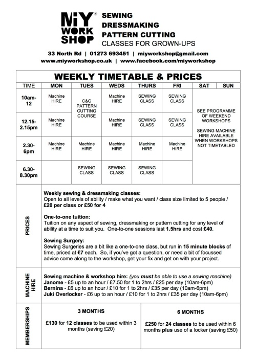 sewing classes timetable
