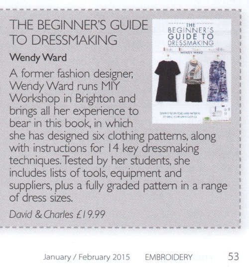 review of beginners guide to dressmaking in embroidery magazine